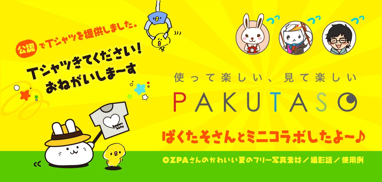 PAKUTASO(ぱくたそ)さんとミニコラボ! ~OZPAさんのかわいい夏の写真素材/撮影話/使用例~ 公認でTシャツを提供しました♪ Tシャツきてください!おねがいしま〜す。