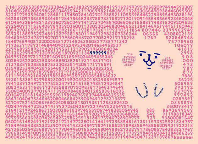 カナヘイさんのかわいい円周率のイラスト。イラストに使用している数字のフォントはmini-わくわくでした。
