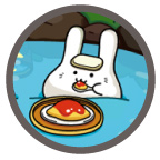 【うさたんGIFアニメ】温泉でオムライス