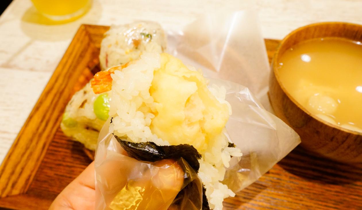 【おいしいな たのしいな 結び菜】【食レポ】一品目(天むす)パクっ 海老がぷりぷりおいしい!