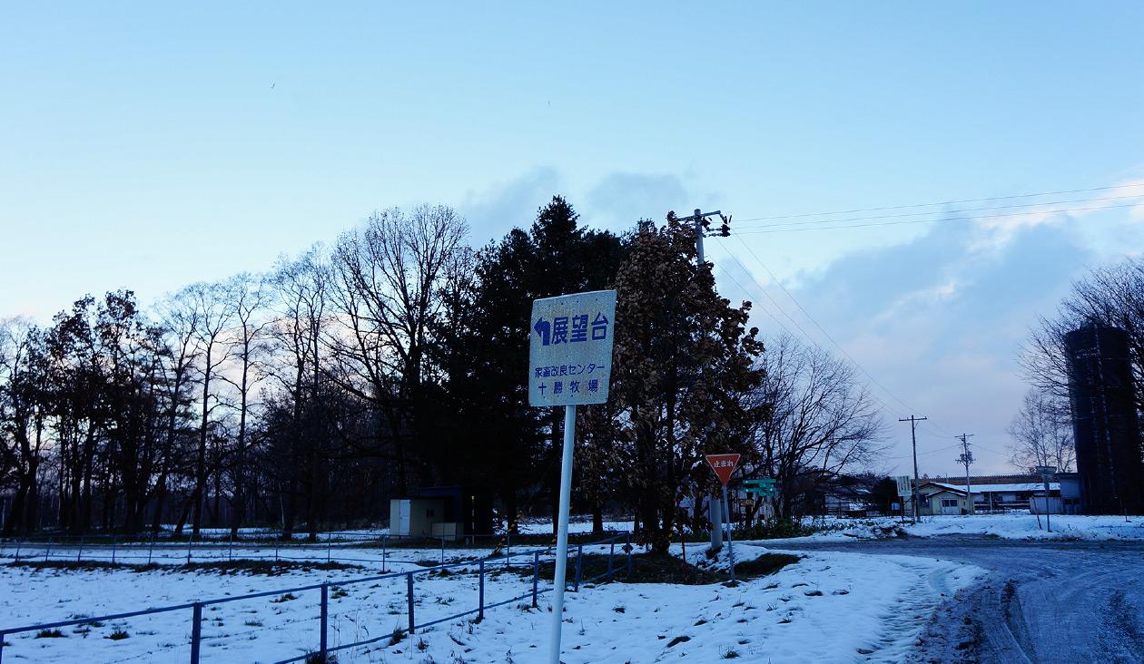 【冬の十勝牧場展望台へ徒歩でウォーキング】(7:12)あっ ←展望台。右側奥の方には業務第一課第1基地(肉牛)という建物が。牛さんはそこにいるのか~。