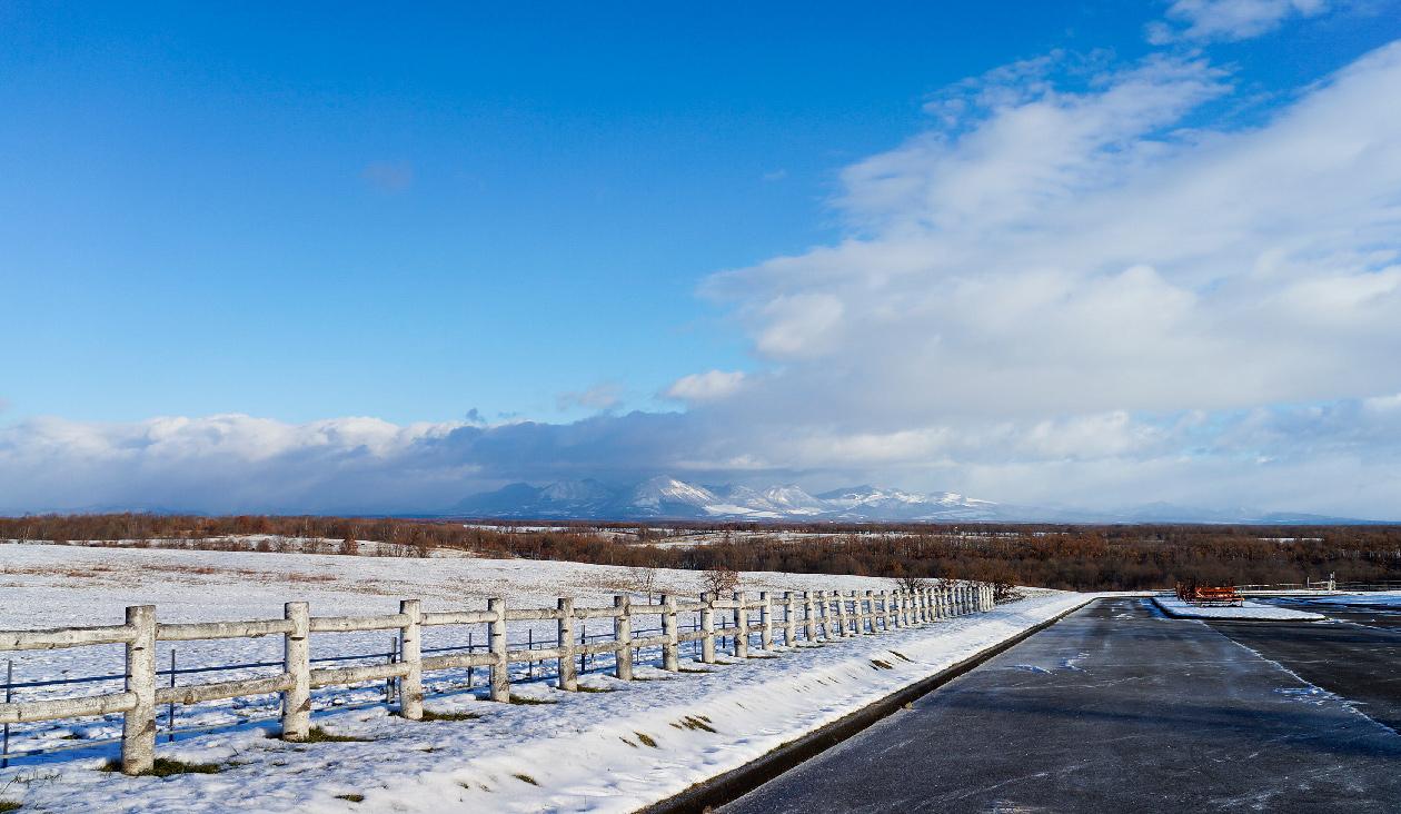 【雪原と紅葉広がる十勝牧場展望台】雪と紅葉と青空が広がる十勝牧場展望台の写真(かなり珍しいショット)。正面奥の方にはナイタイ山。